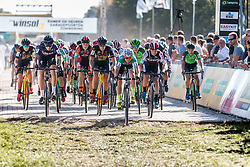 Peloton during the start of the Women Elite race at the 2018 Telenet Superprestige Cyclo-cross #1 Gieten, UCI Class 1, Gieten, Drenthe, The Netherlands, 14 October 2018. Photo by Pim Nijland / PelotonPhotos.com | All photos usage must carry mandatory copyright credit (Peloton Photos | Pim Nijland)