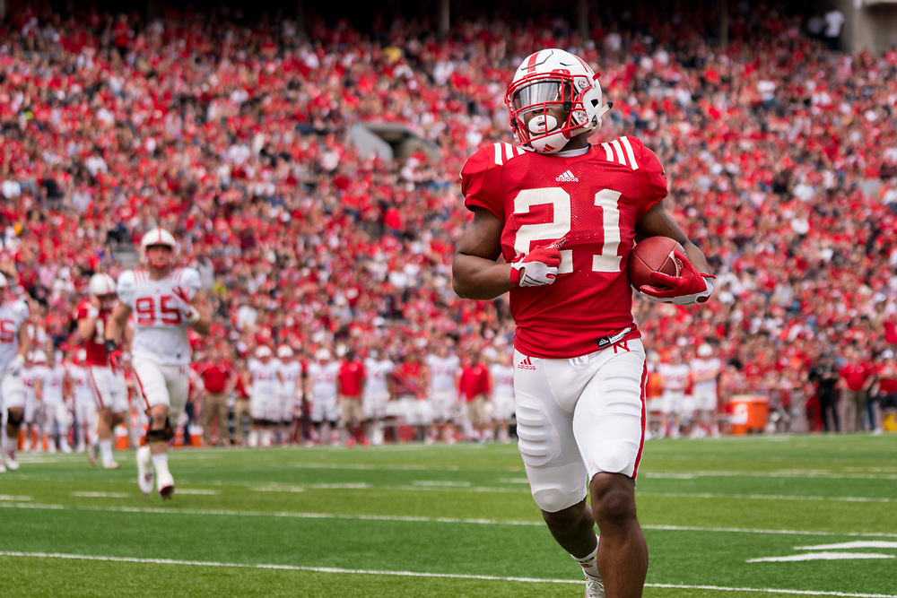 Nebraska Cornhuskers running back Mikale Wilbon #21 during Nebraska's annual Red/White Spring Game at Memorial Stadium on April 15, 2017. Photo by Paul Bellinger, Hail Varsity