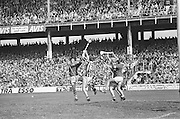 Group of players all jump with hurls raised to catch the slitor during at the All Ireland Senior Hurling Final, Cork v Kilkenny in Croke Park on the 3rd September 1972. Kilkenny 3-24, Cork 5-11.