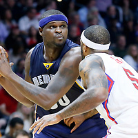 09 November 2015: Memphis Grizzlies forward Zach Randolph (50) looks to pass the ball over Los Angeles Clippers forward Josh Smith (5) during the Los Angeles Clippers 94-92 victory over the Memphis Grizzlies, at the Staples Center, in Los Angeles, California, USA.