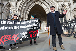 "© Licensed to London News Pictures. 08/02/2018. London, UK. IAN BONE speaks to the press as he celebrates outside the High Court in London. The Qatari royal owners of the Shard via Management Company, Teighmore Limited sought a high court injunction to prevent protests against empty housing led by veteran anarchist founder and leader, Ian Bone, 70 of the campaign group newspaper, Class War outside the 72-storey London landmark, where 10 multiple million-pound luxury apartments lie empty. Class War are organising a series of ""noisy, but peaceful"" ""ghost towers"" protests outside the Shard. Photo credit: Vickie Flores/LNP"