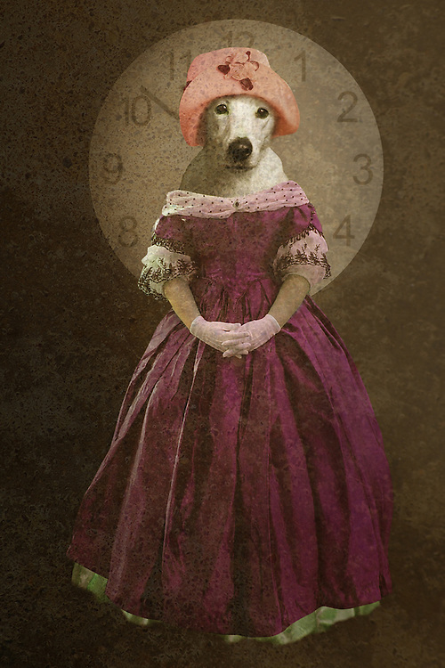 textured fantasy image of someone with a dogs head, standing against a clock