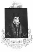 John Foxe (1516-1587) English martyrologist, author of 'History of the Acts and Monuments of the Church', known popularly as 'Foxe's Book of Martyrs', first published 1554. Engraving c1880.