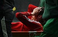 Photo: Paul Thomas.<br /> Liverpool v Sheffield United. The Barclays Premiership. 24/02/2007.<br /> <br /> Peter Crouch leaves the field with a cut face.