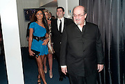 ELLA MONCLARE; ZAFAR RUSHDIE; SALMAN RUSHDIE, GQ Man of the Year awards. The royal Opera House. Covent Garden. London. 6 September 2011. <br /> <br />  , -DO NOT ARCHIVE-© Copyright Photograph by Dafydd Jones. 248 Clapham Rd. London SW9 0PZ. Tel 0207 820 0771. www.dafjones.com.