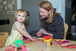 Pictured: Shirley-Ann Somerville chats to Ilsa at the play table<br />