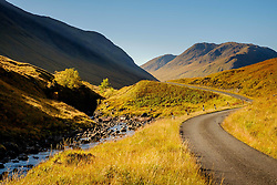 The river Etive and a single track road wind their way throught the Glen Etive -   Highlands of Scotland<br /> <br /> (c) Andrew Wilson | Edinburgh Elite media