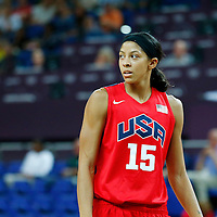 09 August 2012: USA Candace Parker rests during 86-73 Team USA victory over Team Australia, during the women's basketball quarter-finals, at the 02 Arena, in London, Great Britain.