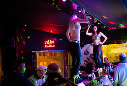 Dancing on a table in a bar in Stodolny street at 1 a.m. after Day 7 of 2015 IIHF World Championship, on May 7, 2015 in Centre, Ostrava, Czech Republic. Photo by Vid Ponikvar / Sportida