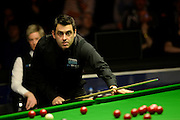 21.02.2016. Cardiff Arena, Cardiff, Wales. Bet Victor Welsh Open Snooker. Ronnie O'Sullivan versus Neil Robertson. Ronnie O'Sullivan at the table.