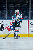 KELOWNA, CANADA - FEBRUARY 6:  Steel Quiring #18 of the Kelowna Rockets warms up with the puck against the Spokane Chiefs on February 6, 2019 at Prospera Place in Kelowna, British Columbia, Canada.  (Photo by Marissa Baecker/Shoot the Breeze)