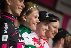Aafke Soet (NED) of Parkhotel Valkenburg - Destil Cycling Team celebrates wearing the most active rider's jersey after Stage 3 of the Lotto Thuringen Ladies Tour - a 124 km road race, starting and finishing in Weimar on July 15, 2017, in Thuringen, Germany. (Photo by Balint Hamvas/Velofocus.com)