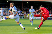 Vadaine Oliver during the Friendly match between York City and Leeds United at Bootham Crescent, York, England on 15 July 2015. Photo by Simon Davies.