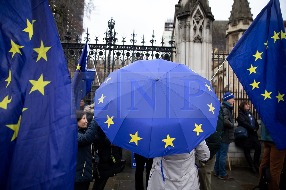 """© Licensed to London News Pictures. 17/12/2019. London, UK. Supporters of Anti-Brexit campaigner Steve Bray (also known as the """"Stop Brexit Man"""") demonstrates in Westminster on the final official day of demonstration by the 'Stand of Defiance European Movement' (SODEM). Steve Bray started the group in September 2017 Photo credit : Tom Nicholson/LNP"""