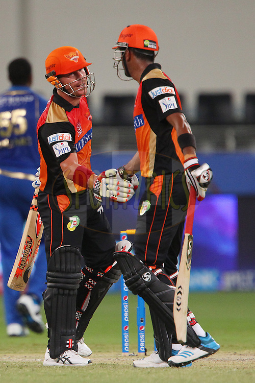K.L Rahul of the Sunrisers Hyderabad congratulates David Warner of the Sunrisers Hyderabad on his fifty during match 20 of the Pepsi Indian Premier League Season 2014 between the Mumbai Indians and the Sunrisers Hyderabad held at the Dubai International Stadium, Dubai, United Arab Emirates on the 30th April 2014<br /> <br /> Photo by Ron Gaunt / IPL / SPORTZPICS