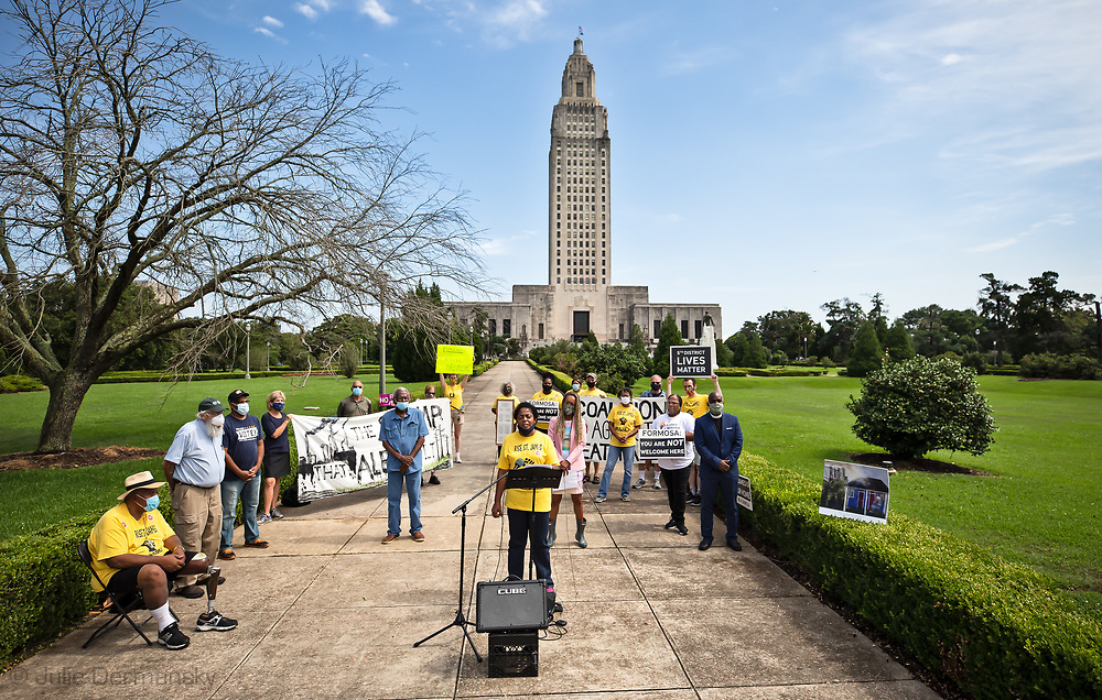 Sharon Lavigne speaking at a June 10 press conference in front of the State Capitol building in Baton Rouge, Louisiana. She asked the Governor to veto HB 197.