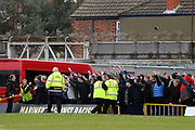 Grimsby Town fans show hostility after the Port Vale fans invaded the pitch during the EFL Sky Bet League 2 match between Grimsby Town FC and Port Vale at Blundell Park, Grimsby, United Kingdom on 10 March 2018. Picture by Mick Atkins.