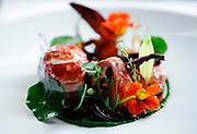 HOLLYWOOD, CA- April 19, 2013:  The Wild Maine Lobster is one of many main courses served at Providence and includes, baby carrots braised in blood orange juice, israeli cous cous and nasturtium.  ( Mariah Tauger / For the Times)
