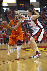 28 March 2010: Nicolle Lewis keeps Jenna Smith in check. The Redbirds of Illinois State squeak past the Illini of Illinois 53-51 in the 4th round of the 2010 Women's National Invitational Tournament (WNIT) on Doug Collins Court inside Redbird Arena at Normal Illinois.