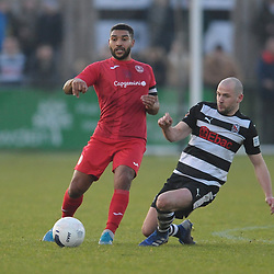 TELFORD COPYRIGHT MIKE SHERIDAN Ellis Deeney of Telford holds off Darlington's Will Hatfield during the Vanarama Conference North fixture between Darlington and AFC Telford United at Blackwell Meadows on Saturday, November 30, 2019.<br /> <br /> Picture credit: Mike Sheridan/Ultrapress<br /> <br /> MS201920-032