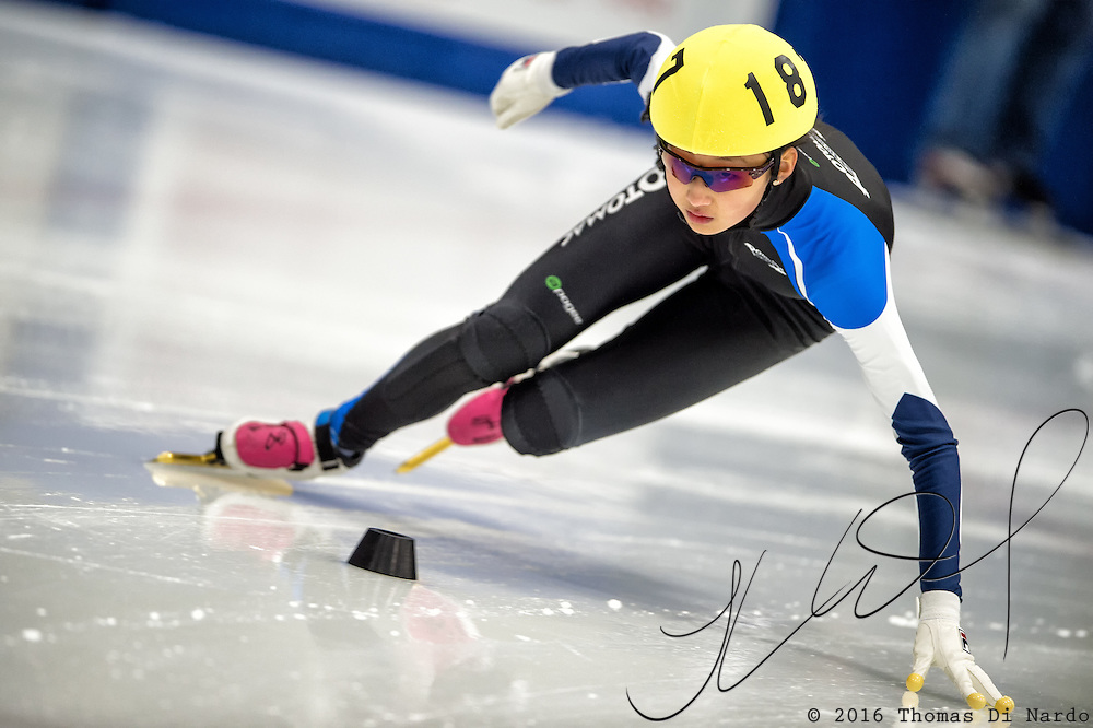 March 20, 2016 - Verona, WI - Hailey Choi, skater number 187 competes in US Speedskating Short Track Age Group Nationals and AmCup Final held at the Verona Ice Arena.