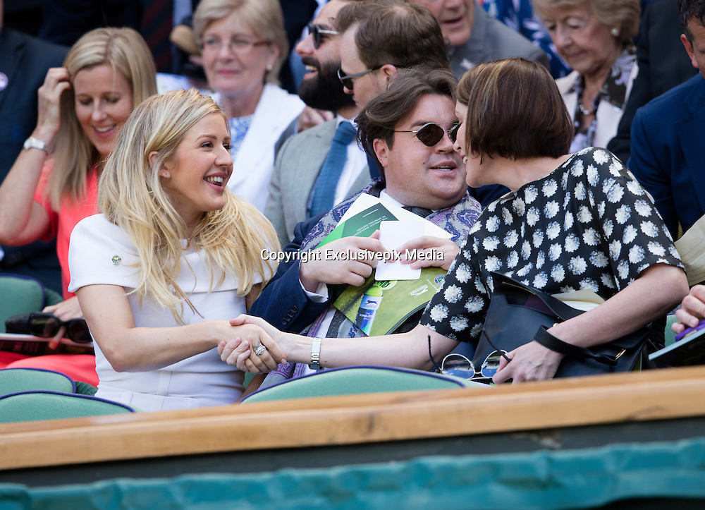 WIMBLEDON - GB -  6th July 2016: The Wimbledon Tennis Championship at the All England Lawn Tennis Club in S.E. London.<br /> <br /> Ellie Goulding watches Roger Federer vs Marin Cilic<br /> &copy;Ian Jones/Exclusivepix Media