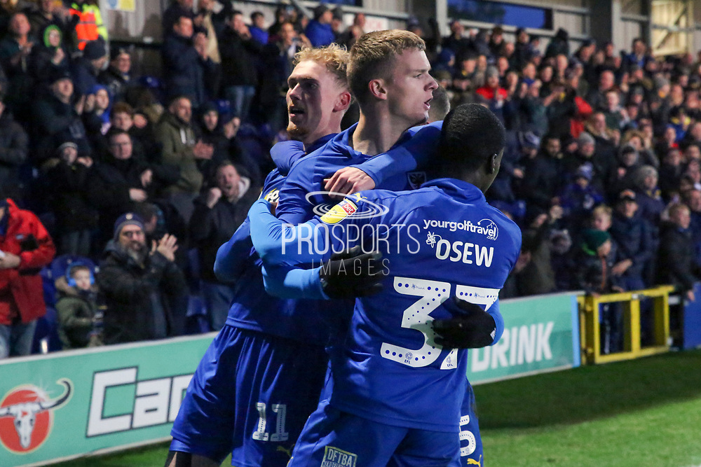 AFC Wimbledon attacker Marcus Forss (15) celebrating goal during the EFL Sky Bet League 1 match between AFC Wimbledon and Doncaster Rovers at the Cherry Red Records Stadium, Kingston, England on 14 December 2019.