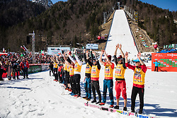 Poland ski jumping team celebrates wining the team overall after the 2nd round of the Ski Flying Hill Individual Competition at Day 4 of FIS Ski Jumping World Cup Final 2019, on March 24, 2019 in Planica, Slovenia. Photo Peter Podobnik / Sportida