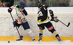 01.09.2013, Albert Schultz Eishalle, Wien, AUT, European Trophy, UPC Vienna Capitals vs Linkoepings HC, im Bild Erik Lindhagen, (Linkoepings HC, #29) und Mario Fischer, (UPC Vienna Capitals, #50)  // during the European Trophy Icehockey match betweeen UPC Vienna Capitals (AUT) vs Linkoepings HC (SWE) at the Albert Schultz Eishalle, Vienna, Austria on 2013/09/01. EXPA Pictures © 2013, PhotoCredit: EXPA/ Thomas Haumer