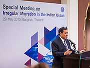 "29 MAY 2015 - BANGKOK, THAILAND: H.E. General TANASAK PATIMAPRAGORN, Deputy Prime Minister and Minister of Foreign Affairs of Thailand,  answers reporters' questions during a press conference at the ""Special Meeting on Irregular Migration in the Indian Ocean."" Thailand organized and hosted the meeting at the Anantara Siam Hotel in Bangkok. The meeting brought together representatives from the 5 countries impacted by the boat people exodus: Thailand, Malaysia and Indonesia, which have all received boat people, and Myanmar (Burma) and Bangladesh, where they are coming from. Non-governmental organizations, like the International Organization for Migration (IOM) and UN High Commissioner for Refugees (UNHCR) as well as countries responding to the crisis, like the United States, also attended the meeting. A total of 22 organizations attended the one day conference.      PHOTO BY JACK KURTZ"