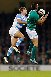 Argentina Winger Santiago Cordero and Ireland Full Back Rob Kearney compete - Mandatory byline: Rogan Thomson/JMP - 07966 386802 - 18/10/2015 - RUGBY UNION - Millennium Stadium - Cardiff, Wales - Ireland v Argentina - Rugby World Cup 2015 Quarter Finals.