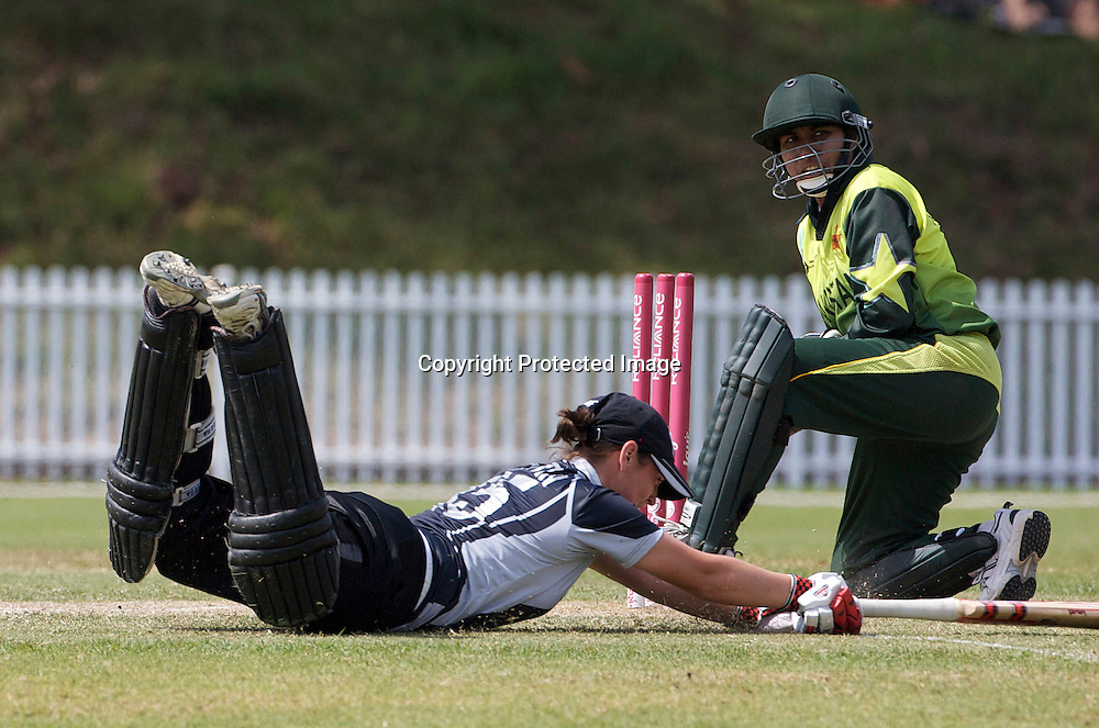 Sydney-March 19: Katey Martin is run out during the match between New Zealand and Pakistan in the Super 6 stage of the ICC Women's World Cup Cricket tournament at Drummoyne Oval, Sydney, Australia on March 19, 2009 New Zealand made 373 for 7. Photo by Tim Clayton.