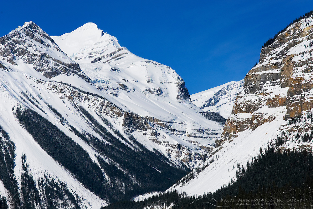 Rugged peaks of the Canadian Rockies in winter, Mount Robson Provincial Park British Columbia Canada