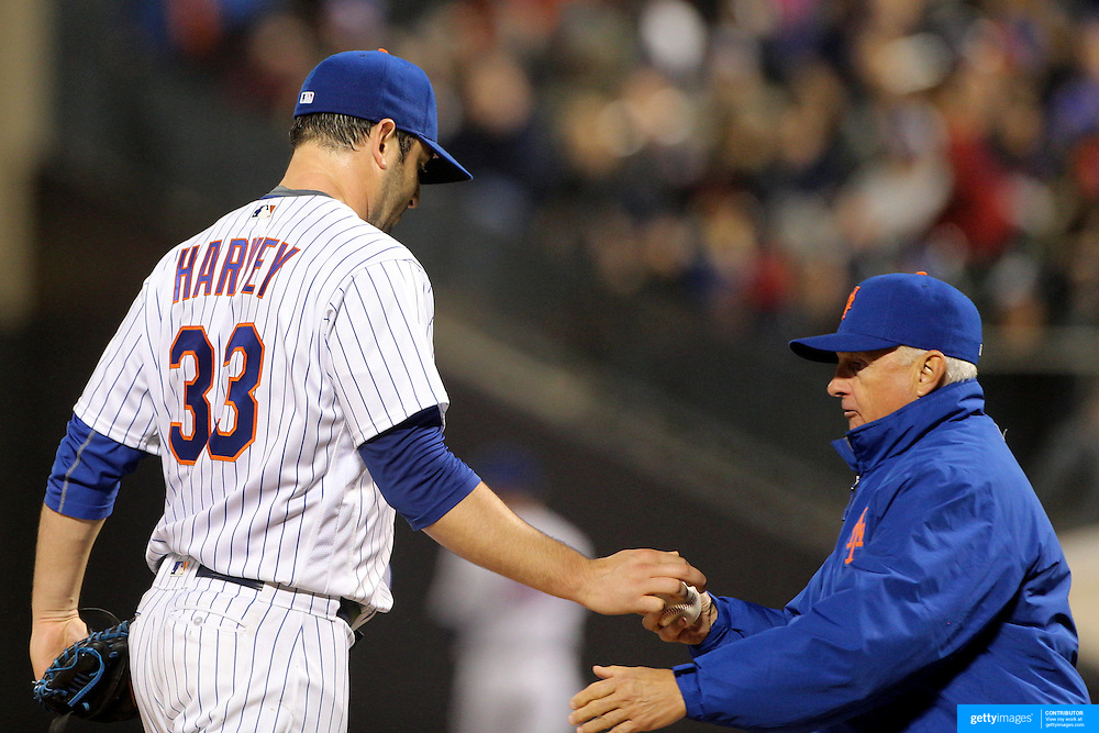 NEW YORK, NEW YORK - MAY 03:  Pitcher Matt Harvey #33 of the New York Mets hands the ball to manager Terry Collins after being pulled from the game in the sixth inning during the Atlanta Braves Vs New York Mets MLB regular season game at Citi Field on May 03, 2016 in New York City. (Photo by Tim Clayton/Corbis via Getty Images)