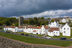 Aerial view whitewashed houses on Pan Ha ( Pan Haugh) and St Serf's Church at Dysart conservation village in Fife, Scotland ,UK