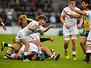England scrum-half Harry Randall throws out a pass during the World Rugby U20 Championship  match England U20 -V- Australia U20 at The AJ Bell Stadium, Salford, Greater Manchester, England on June  15  2016, (Steve Flynn/Image of Sport)