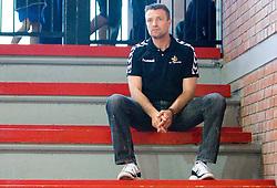 Coach of Gorenje Ivica Obrvan on the tribune because of penalty at handball match of MIK 1st Men league between RD Slovan and RK Gorenje Velenje, on May 16, 2009, in Arena Kodeljevo, Ljubljana, Slovenia. Gorenje won 27:26. (Photo by Vid Ponikvar / Sportida)