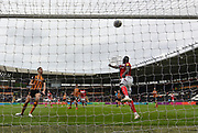 Bristol City striker Famara Diedhiou (9) missed shot at goal goes over the bar  during the EFL Sky Bet Championship match between Hull City and Bristol City at the KCOM Stadium, Kingston upon Hull, England on 5 May 2019.