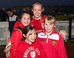 Flo Allen of Bristol City Women poses with young supporters - Mandatory by-line: Paul Knight/JMP - 09/05/2017 - FOOTBALL - Stoke Gifford Stadium - Bristol, England - Bristol City Women v Manchester City Women - FA Women's Super League Spring Series