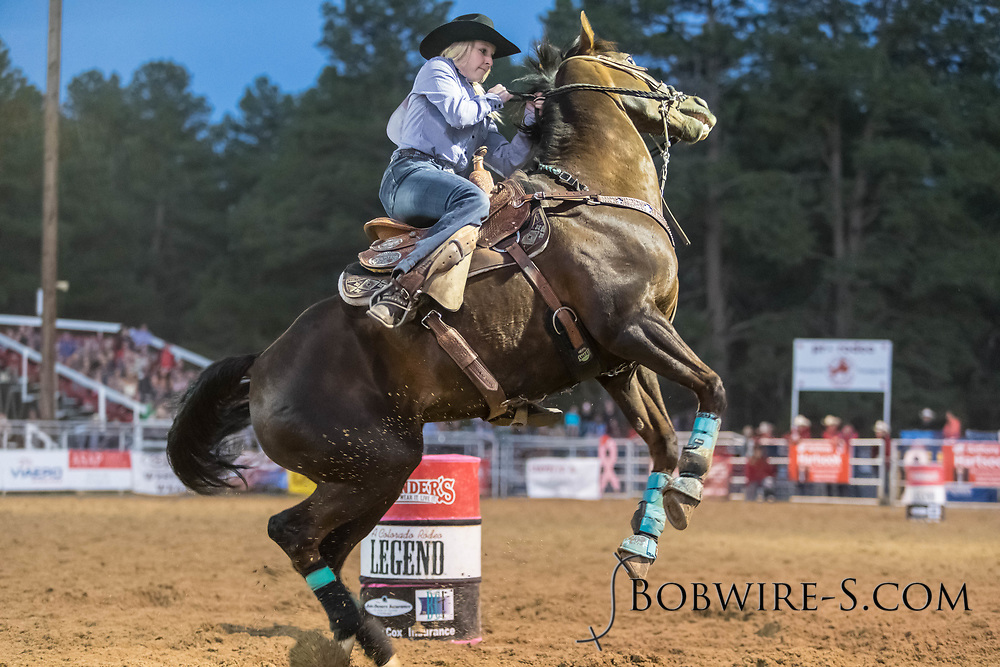 Megan Best's barrel run gets a little wild during the second performance of the Elizabeth Stampede on Saturday, June 2, 2018.