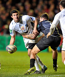 Anthony Floch (Montpellier) looks to offload the ball after being tackled - Photo mandatory by-line: Patrick Khachfe/JMP - Tel: Mobile: 07966 386802 08/12/2013 - SPORT - RUGBY UNION -  Welford Road, Leicester - Leicester Tigers v Montpellier - Heineken Cup.