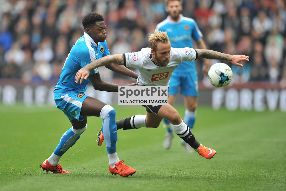 Wolves Defender Dominic Iorfa brings down Derbys Johnny Russell,  Derby County v Wolves, Sky Bet Championship, Sunday 18th October 2015