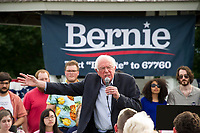 Democratic Presidential candidate Bernie Sanders speaks to a crowd gathered at the Wolfeboro Inn on Monday evening.  (Karen Bobotas/for the Laconia Daily Sun)
