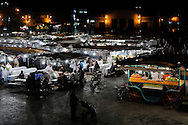 Morocco, Marrakesh. Djemaa el Fna at night.