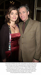 The HON.TAMSIN OLIVIER, daughter of the late actor Lord Olivier and her husband actor SIMON DUTTON,  at a party in London on 21st March 2001.OMK 87