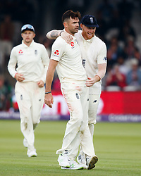 England's James Anderson celebrates taking the wicket of Pakistan's Hasan Ali for 0 during day two of the First NatWest Test Series match at Lord's, London.