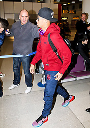 Neymar of FC Barcelona arrives at Manchester Airport with the squad ahead of the UEFA Champions League tie against Manchester City - Photo mandatory by-line: Matt McNulty/JMP - Mobile: 07966 386802 - 23/02/2015 - SPORT - Football - Manchester - Manchester Airport