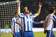 Brighton & Hove Albion centre forward Tomer Hemed (10) scores a goal 1-0 and celebrates during the EFL Sky Bet Championship match between Brighton and Hove Albion and Cardiff City at the American Express Community Stadium, Brighton and Hove, England on 24 January 2017.