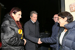 © Licensed to London News Pictures. 01/12/2019. London, UK. Actor and film producer, HUGH GRANT (2nd from left), joins Liberal Democrats' parliamentary candidate for Finchley & Golders Green, LUCIANA BERGER (L) during canvassing in Finchley, North London, to bid to stop a Conservative majority and Stop Brexit. Photo credit: Dinendra Haria/LNP