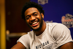 Michigan Wolverines defensive back Lavert Hill speaks with the media at the Hyatt Regency on Monday, December 24, 2018 in Atlanta. Michigan will face Florida in the 2018 Peach Bowl on December 29, 2018. (Jason Parkhurst via Abell Images for the Chick-fil-A Peach Bowl)